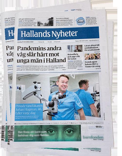 Johan Hagman intervjuas i tidningen Hallands Nyheter